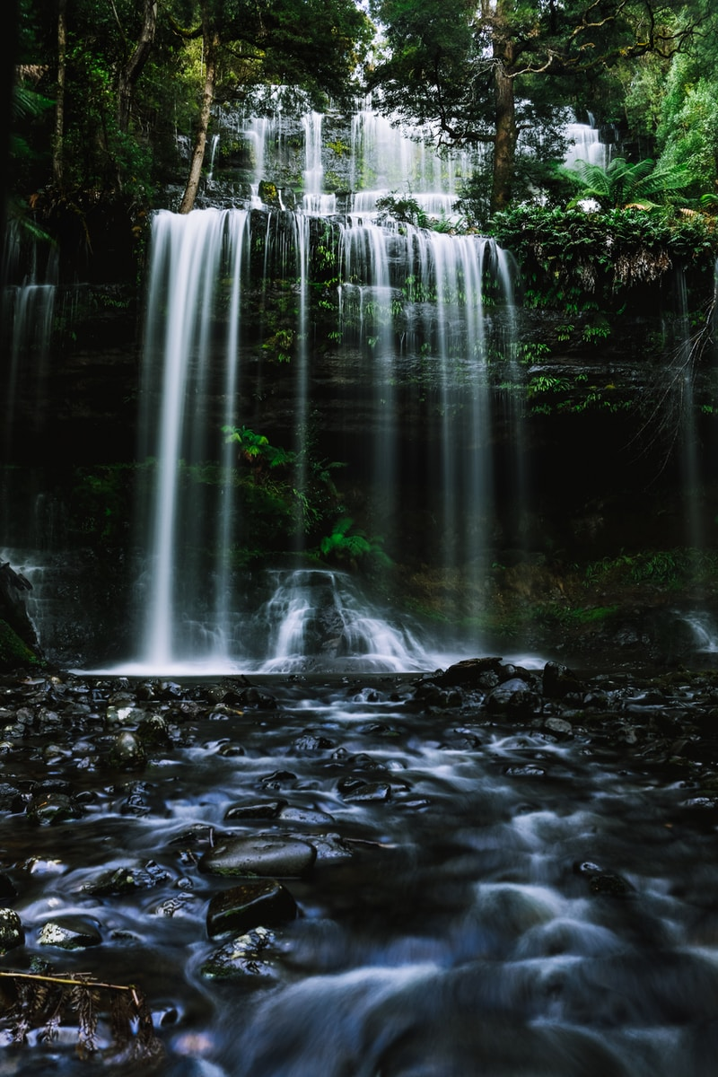 water falls on rocky ground
